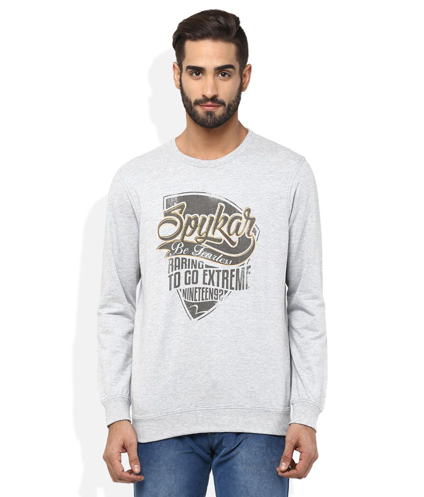 Spykar Grey Printed Sweatshirt