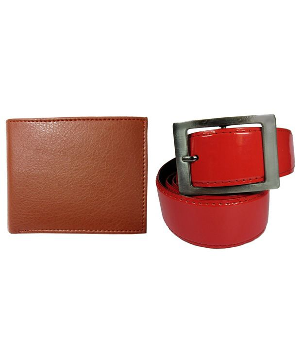 Apki Needs Red Casual Wear Belt With Brown Wallet For Men
