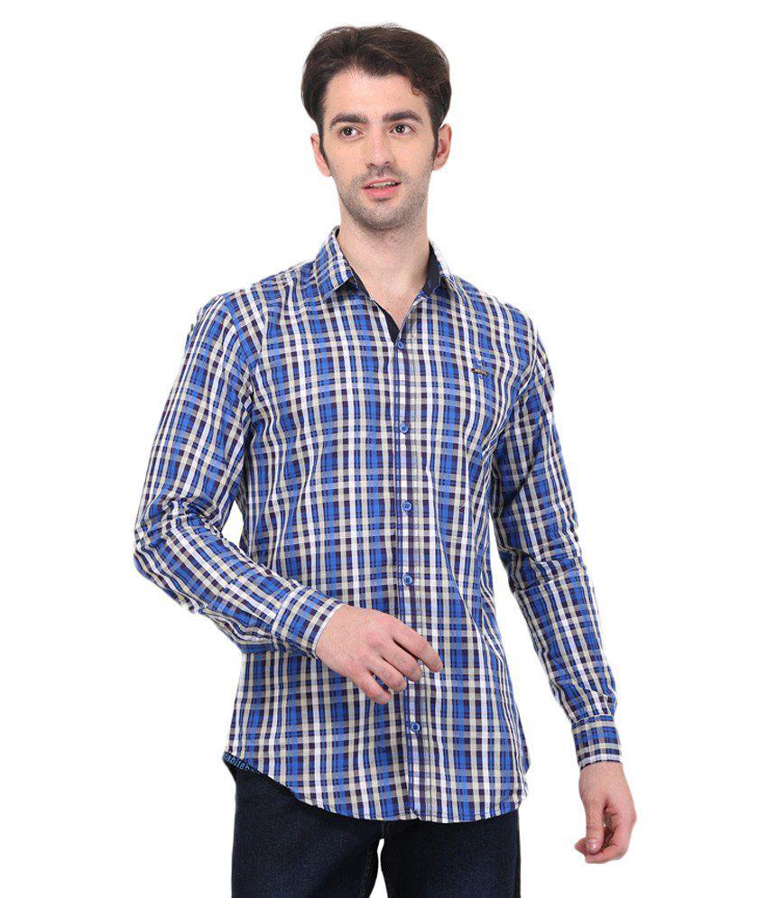 Bravezi Blue Checkered Slim Fit Shirt