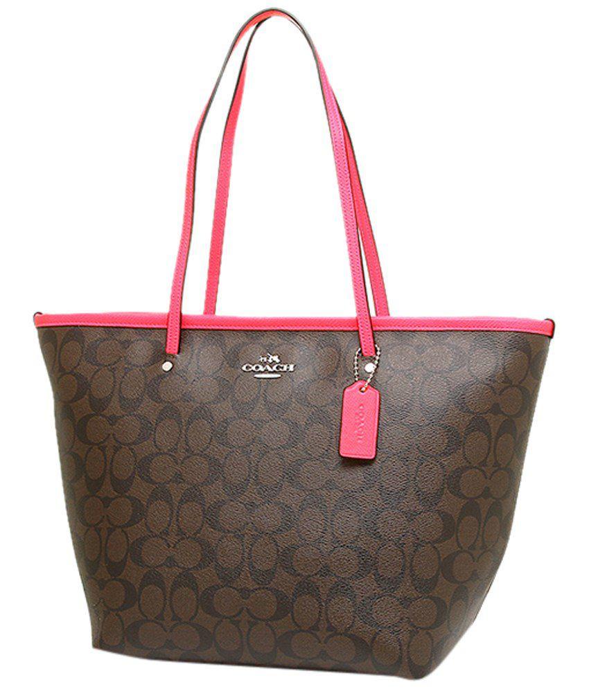 ea107df74f3 Coach Brown & Pink PU Tote Bag - Buy Coach Brown & Pink PU Tote Bag ...