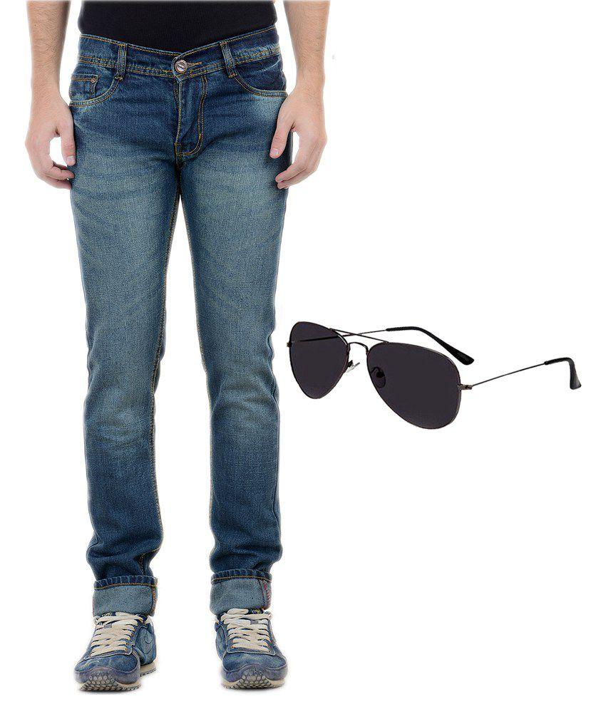 Forest Blue Cotton Blend Slim Fit Jeans