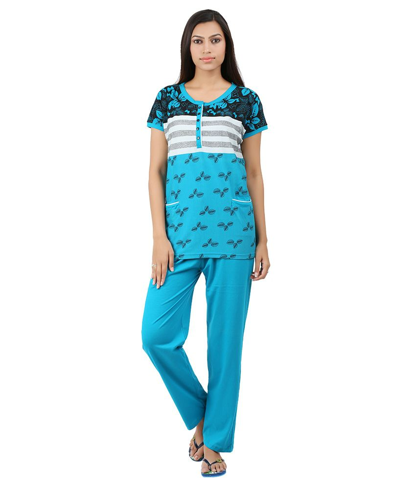 Informal Wear Blue Cotton Nightsuit Sets