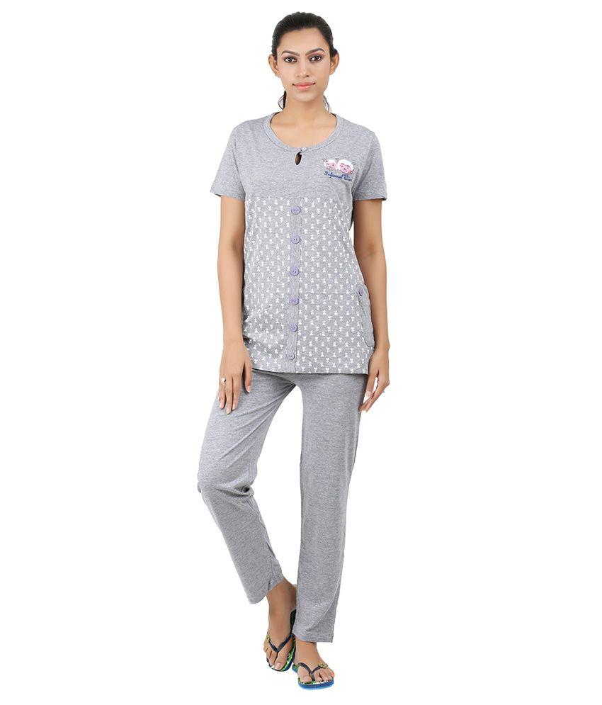 Informal Wear Gray Cotton Nightsuit Sets