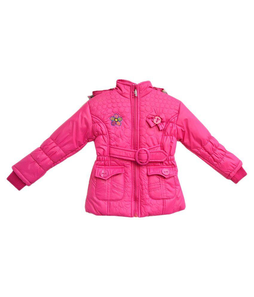 London Girl Pink Hooded Full Sleeves Padded Jacket