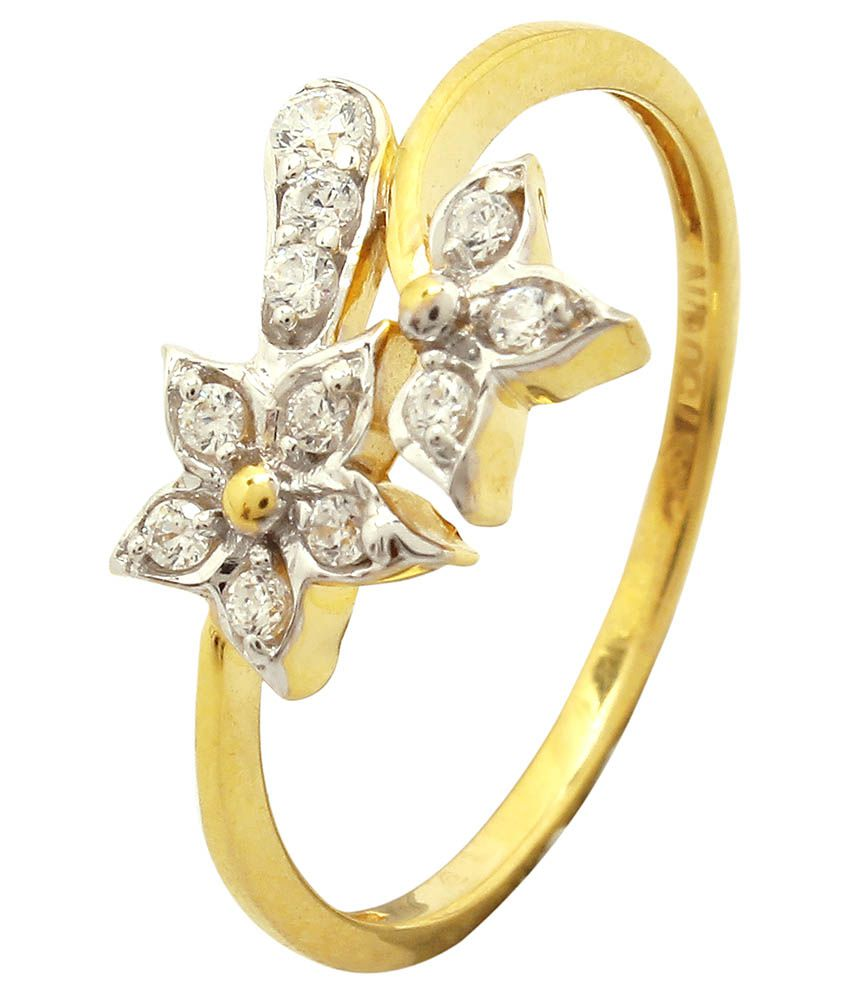 Shree Laxmi Jewellers 18 Kt Golden Cubic Zirconia Ring
