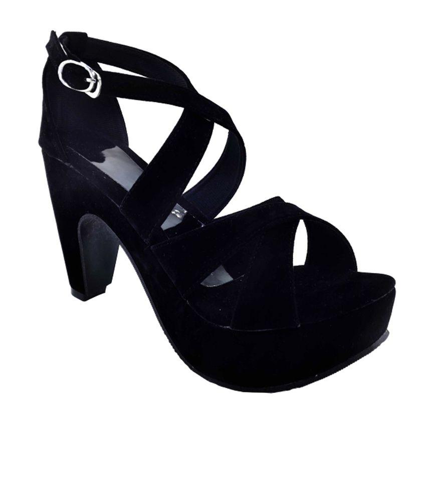 7811abd1227 Plutos Black Block Heel Sandals Price in India- Buy Plutos Black Block Heel  Sandals Online at Snapdeal
