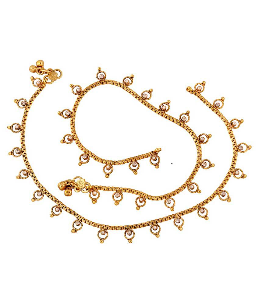 Accessher White Brass Anklets