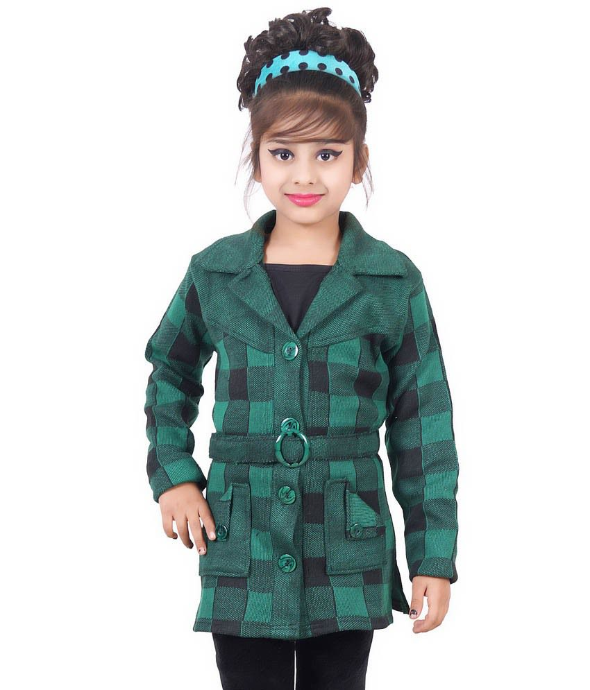 Ahhaaaa Green Quilted Long Coat For Girls