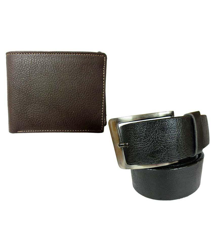 Apki Needs Combo Of Black Belt & Brown Wallet For Men