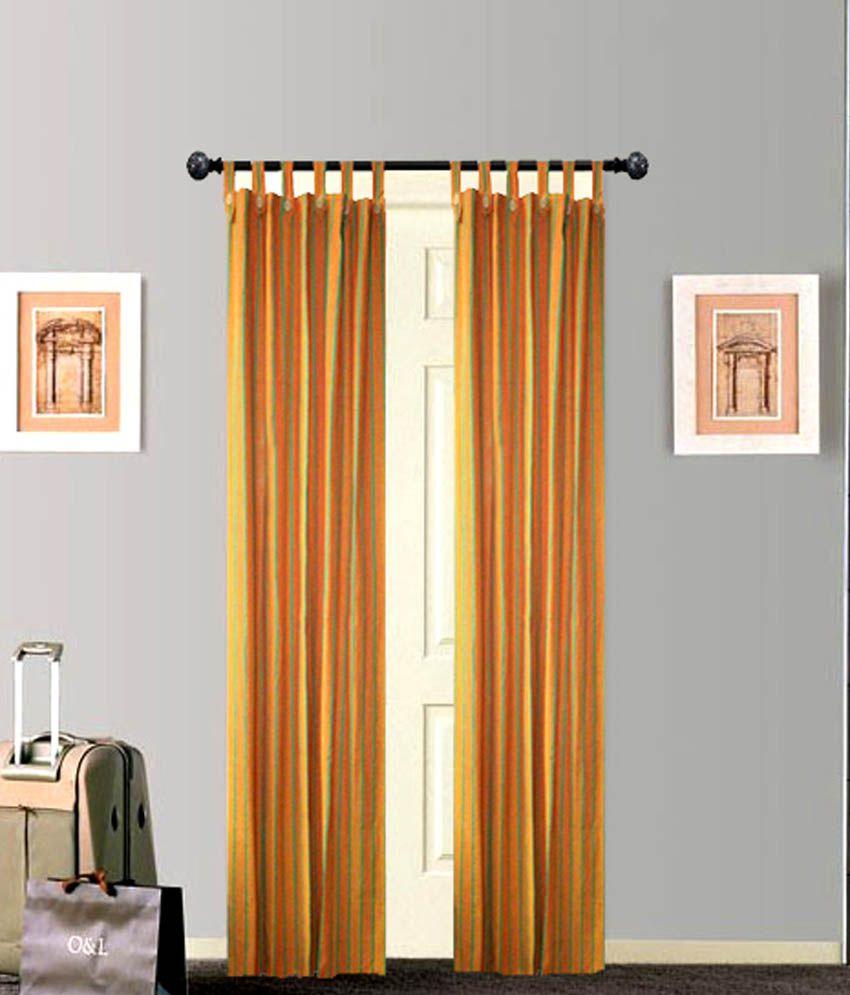 Tidy Set of 2 Door Loop Curtains Stripes Yellow
