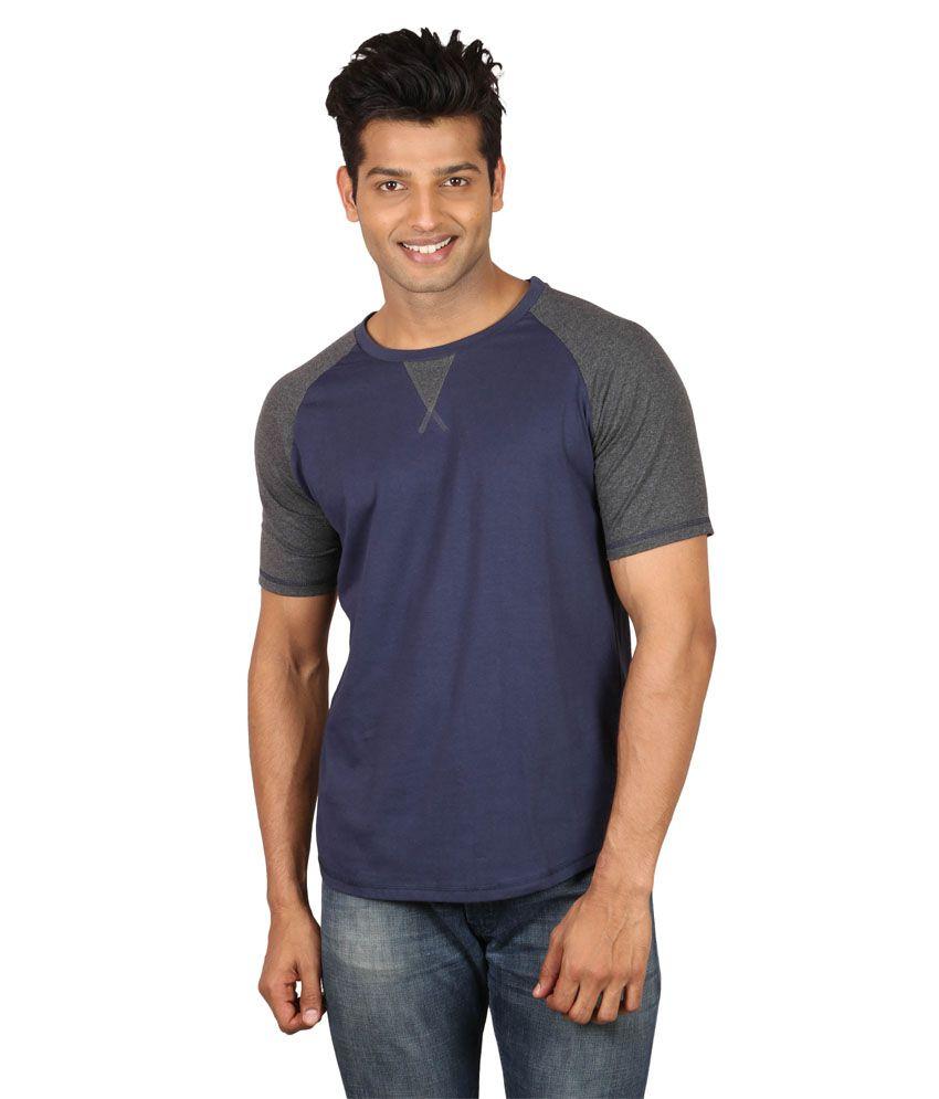 Poshuis Blue Cotton Half Sleeve Round T-Shirt
