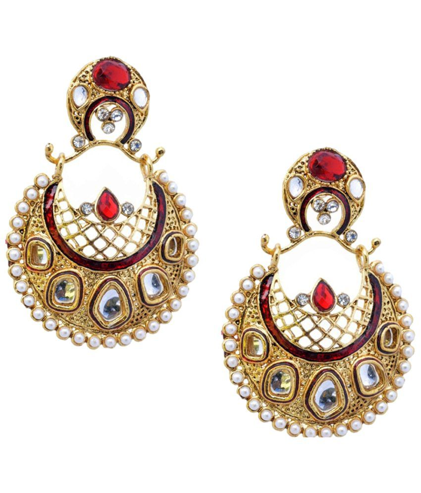Royal Bling Golden & Pink Gold Plated Drop Earrings