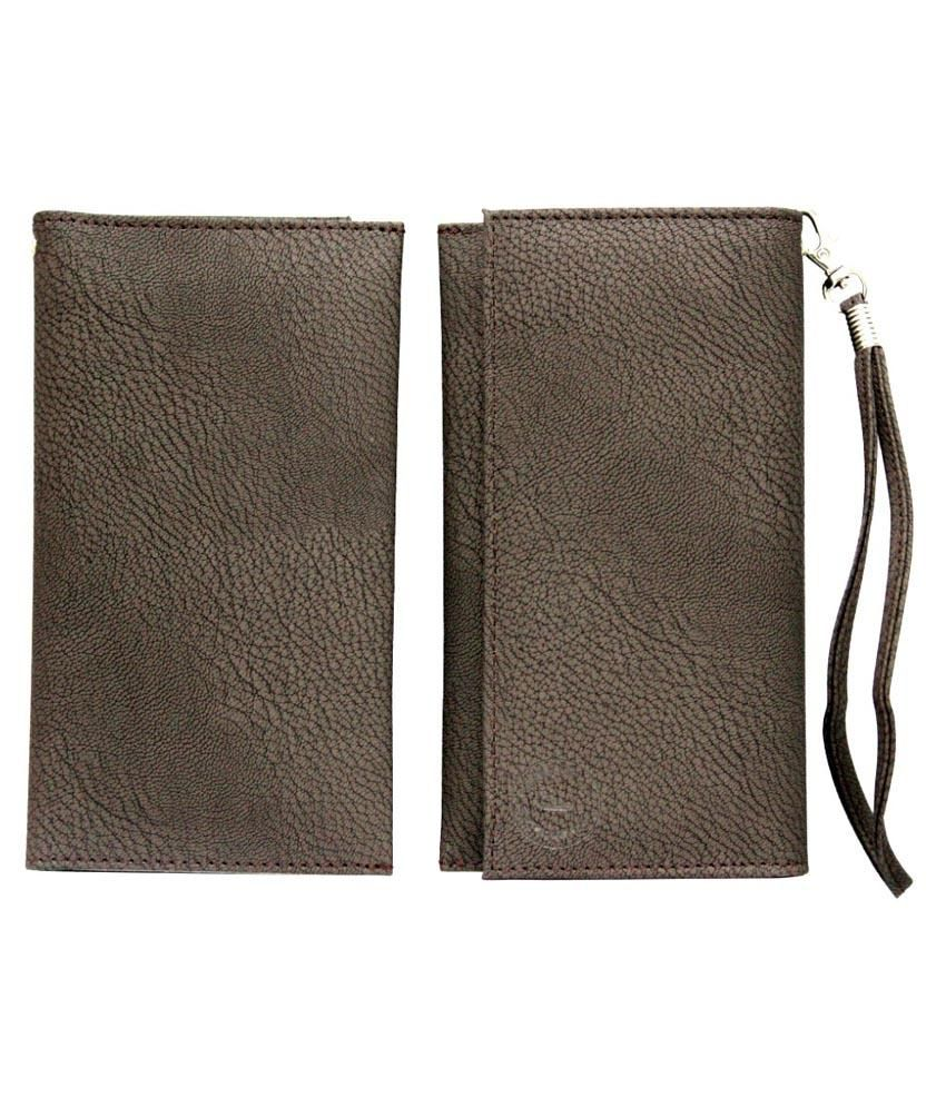 Jo Jo A5 G8 Leather Mobile Pouch Cover For Kestrel Km 451-brown