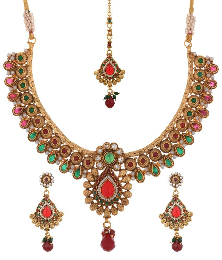 Mahishi Red & Golden CZ Necklace Set with Maang Tika