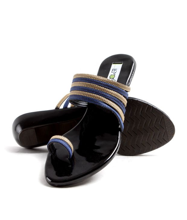 Lemon & Pepper Sober Beige And Purple Heel Slippers