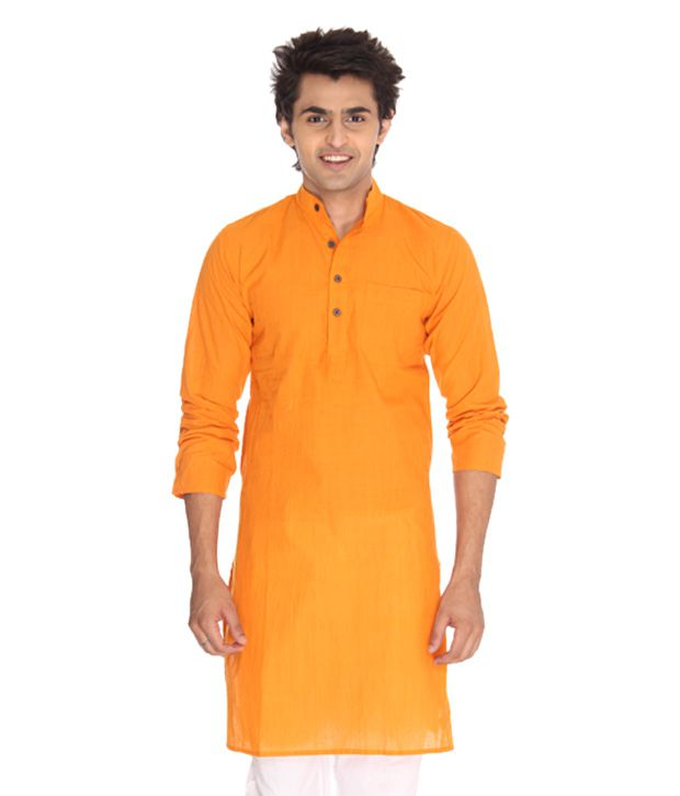 Abhiyuthan Orange Cotton Striped Long Kurta