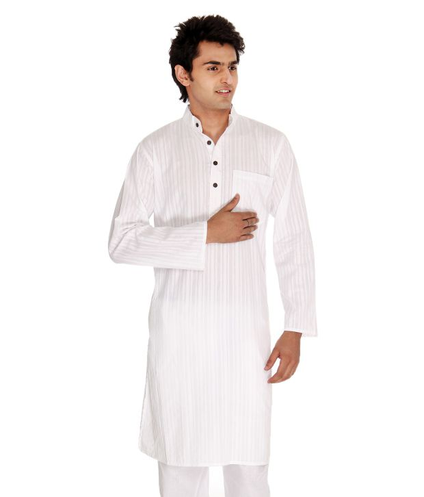 Abhiyuthan White Cotton Striped Long Kurta