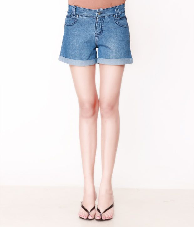 Lavennder Blue Denim Shorts