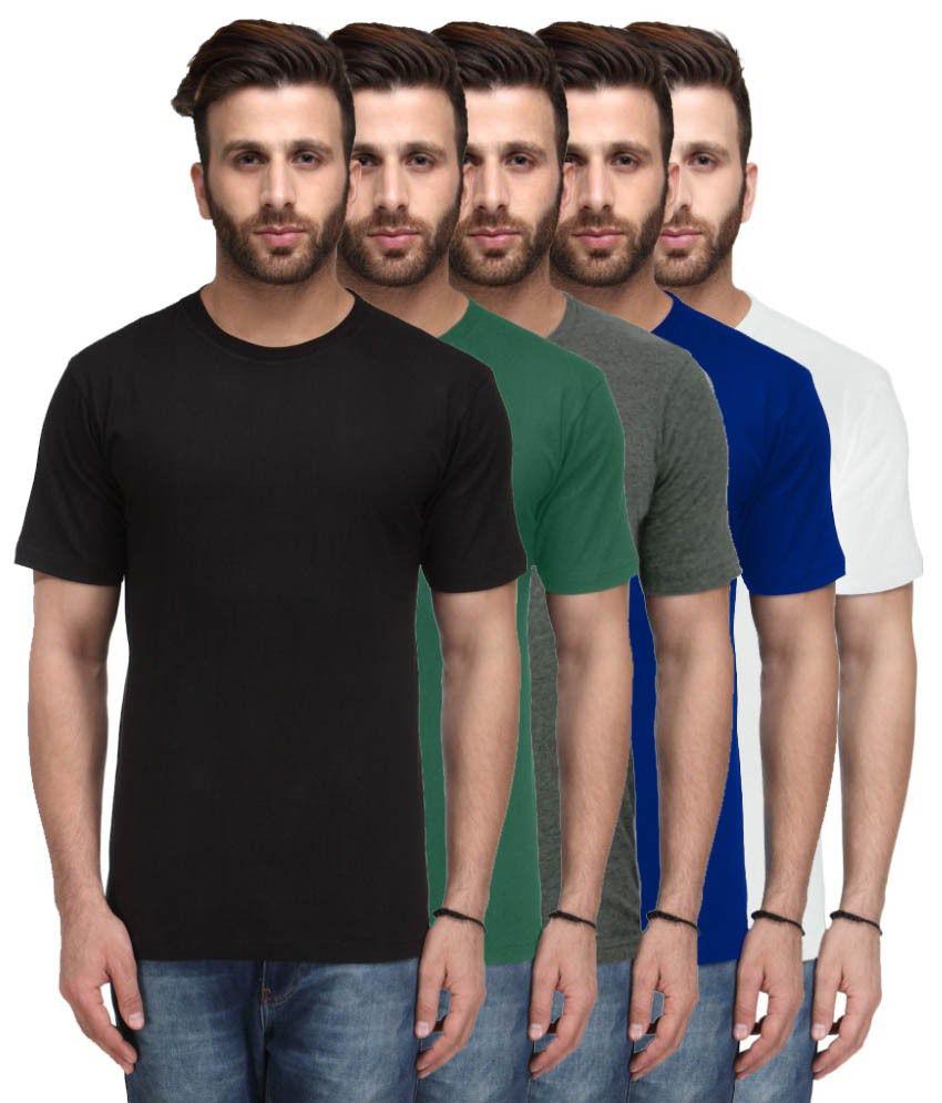 Nitlon Multicolour Cotton T-shirt - Set Of 5