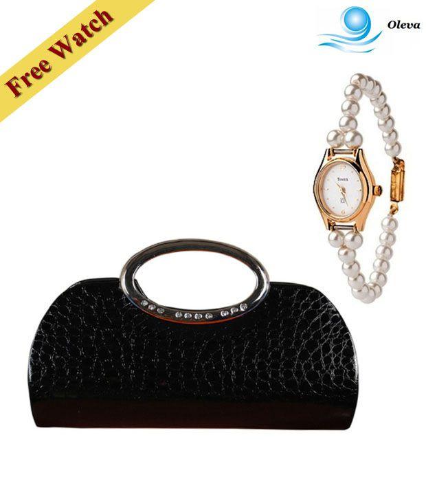 Oleva Black Croc Print Embellished Clutch With Free Women's Watch