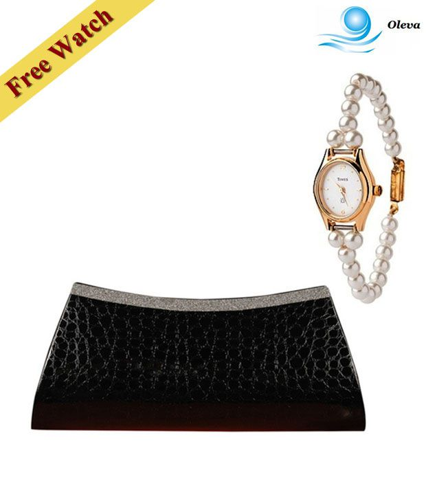 Oleva Black Croc Print Shimmery Clutch With Free Women's Watch