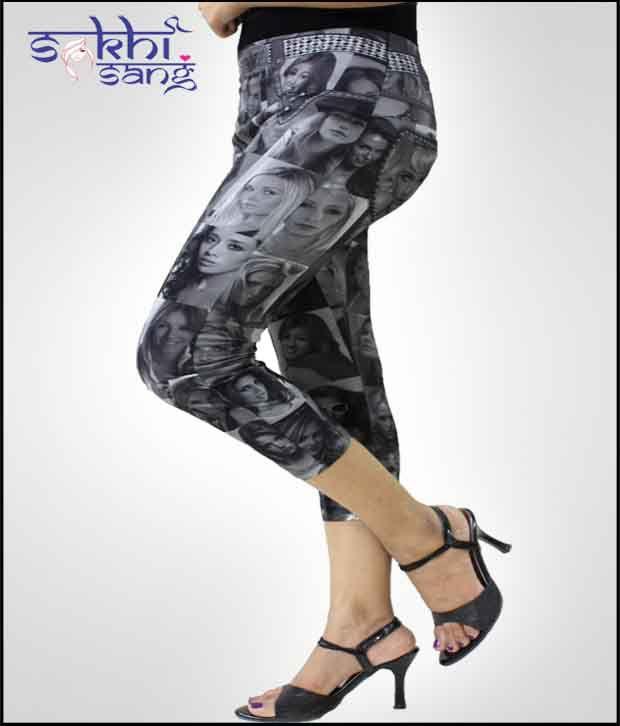 Sakhi Sang Trendy Photos Printed Tights Capris