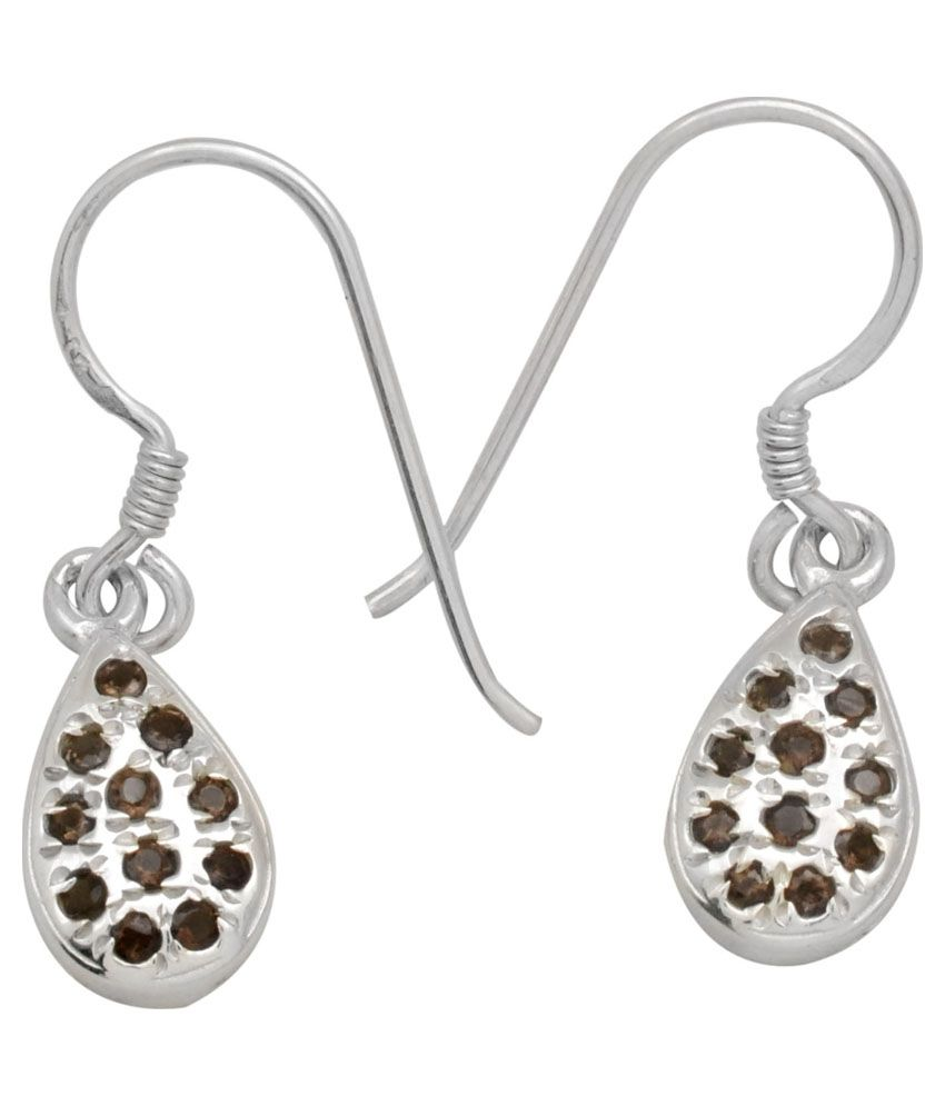 Yugshajewels 92.5 Sterling Silver Quartz Earrings