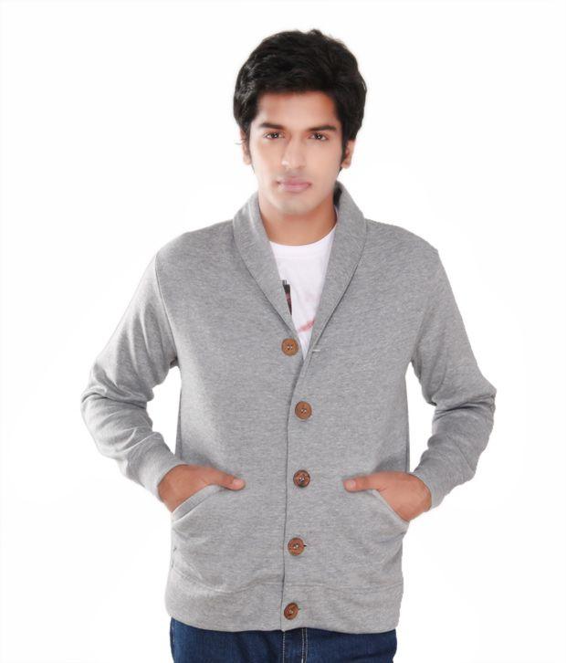 Casual Tees Grey Melange Fleece Coat Jacket