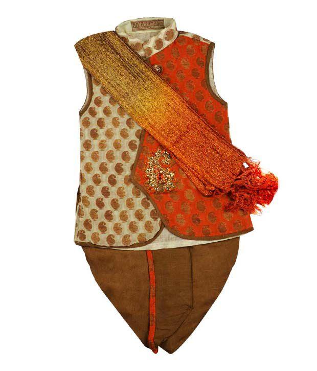 Raja Sahab Brown & Rust Dhoti Kurta For Kids