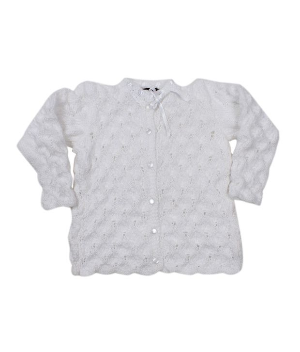 Bunai White Hand Knitted Designer Sweater For Kids