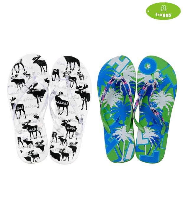 Froggy Combo of White & Green Flip Flops