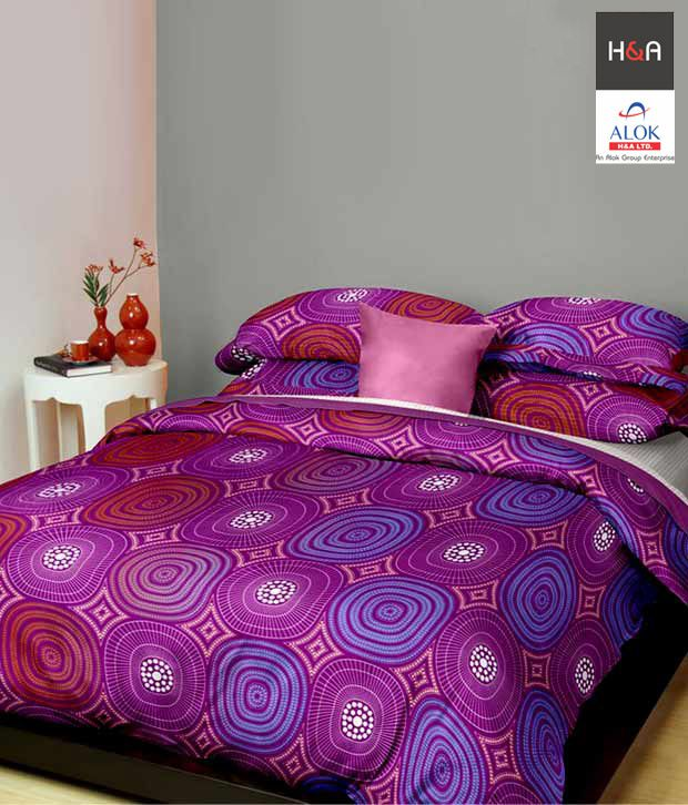 H&A Printed Plum Double Bed Sheet