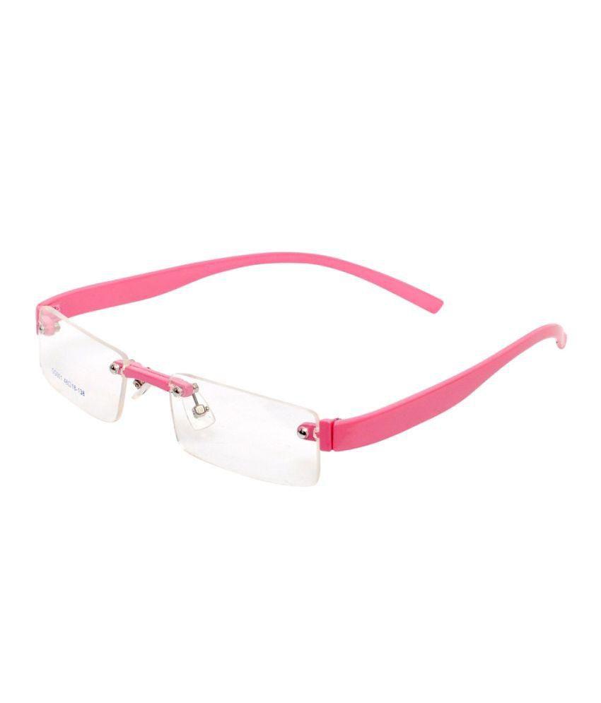 Magjons Pink Rimless Eyeglass Frame