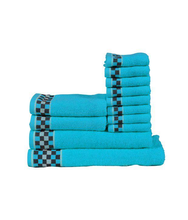 Rr Textile House Blue Cotton Bath Towel Set Of 12
