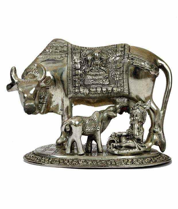 Rigvi Kamdhenu Cow, Calf With Krishna