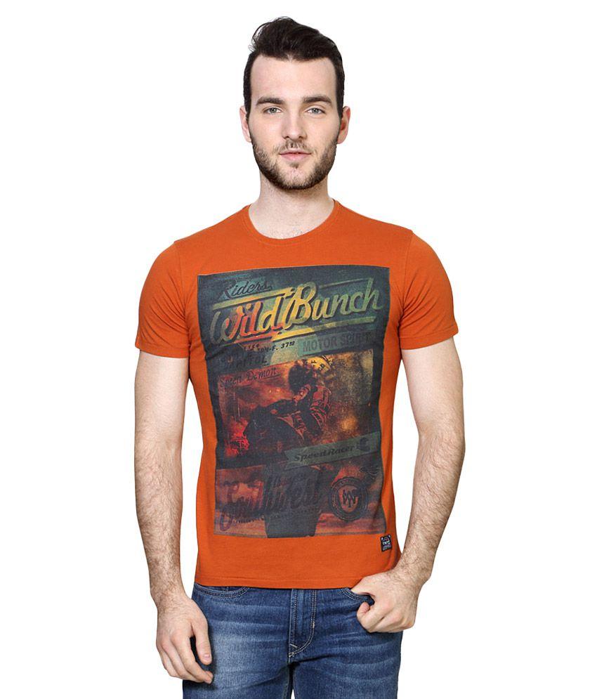 Van Heusen Orange Round Neck T Shirt