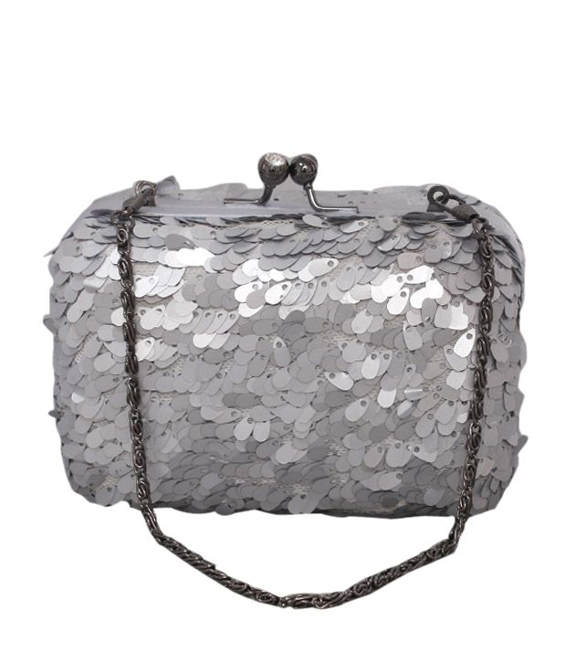Bolso Silver Fish Scale Sequins Clutch