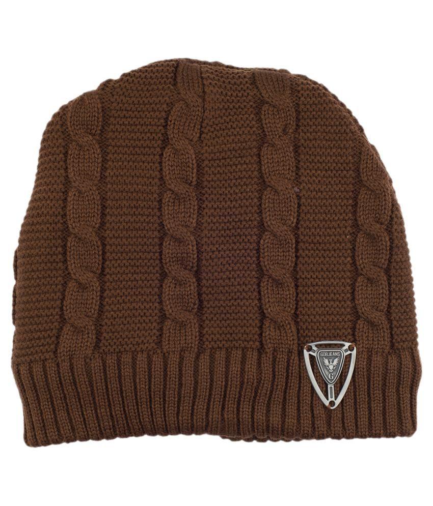 19 square Brown Woollen Cap for Men