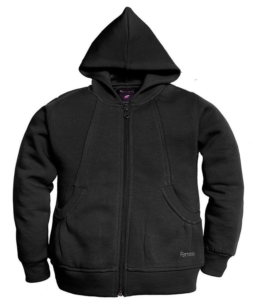 Femea Black Hooded Sweatshirt For Girls