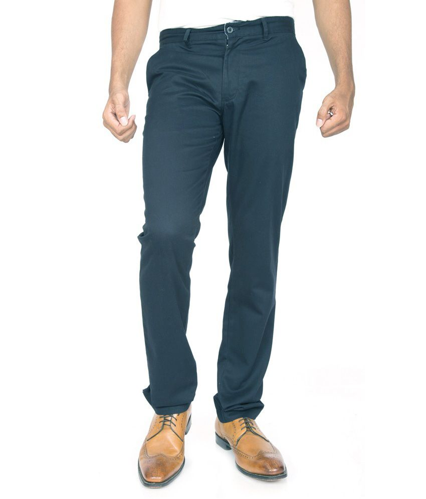 Masterly Weft Blue Regular Fit Formal Chinos