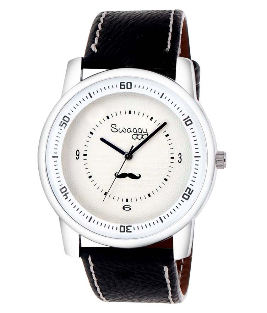 Swaggy Black Leather Analog Watch