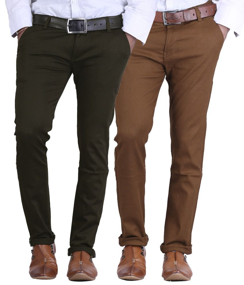 Ave Chocolate Brown & Dark Brown Slim Fit Formal Chinos Trousers - Pack Of 2