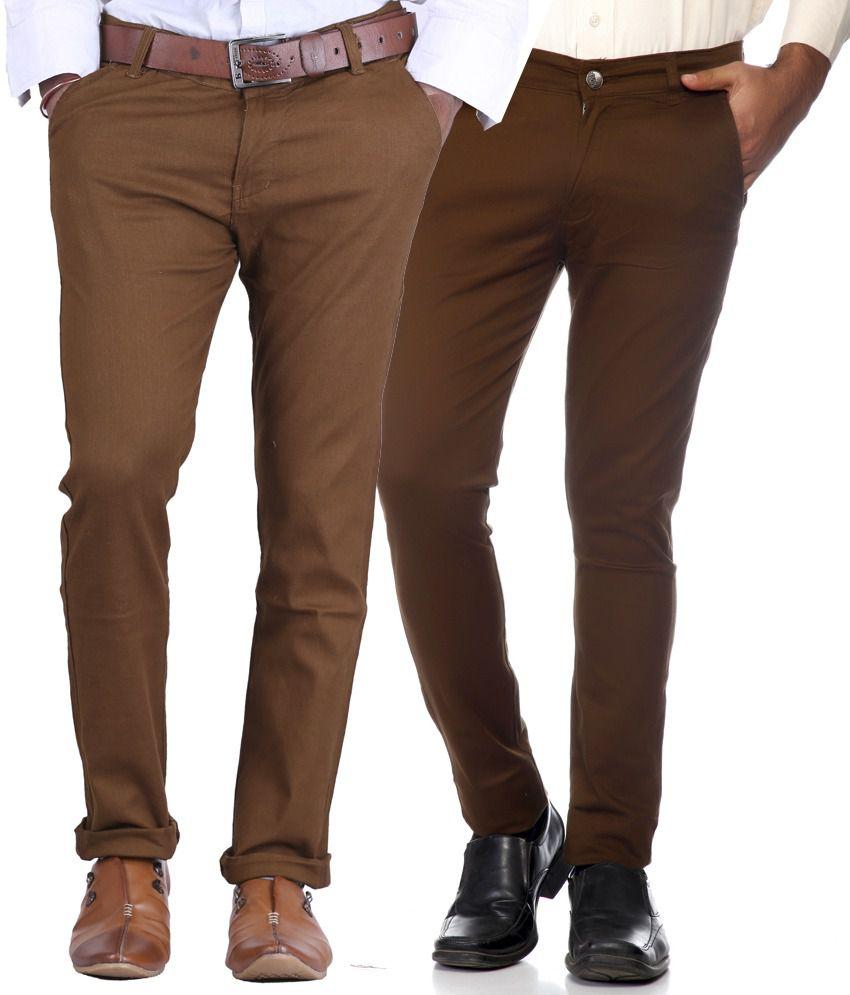 Ave Dark Brown & Brown Slim Fit Formal Chinos Trousers - Pack Of 2