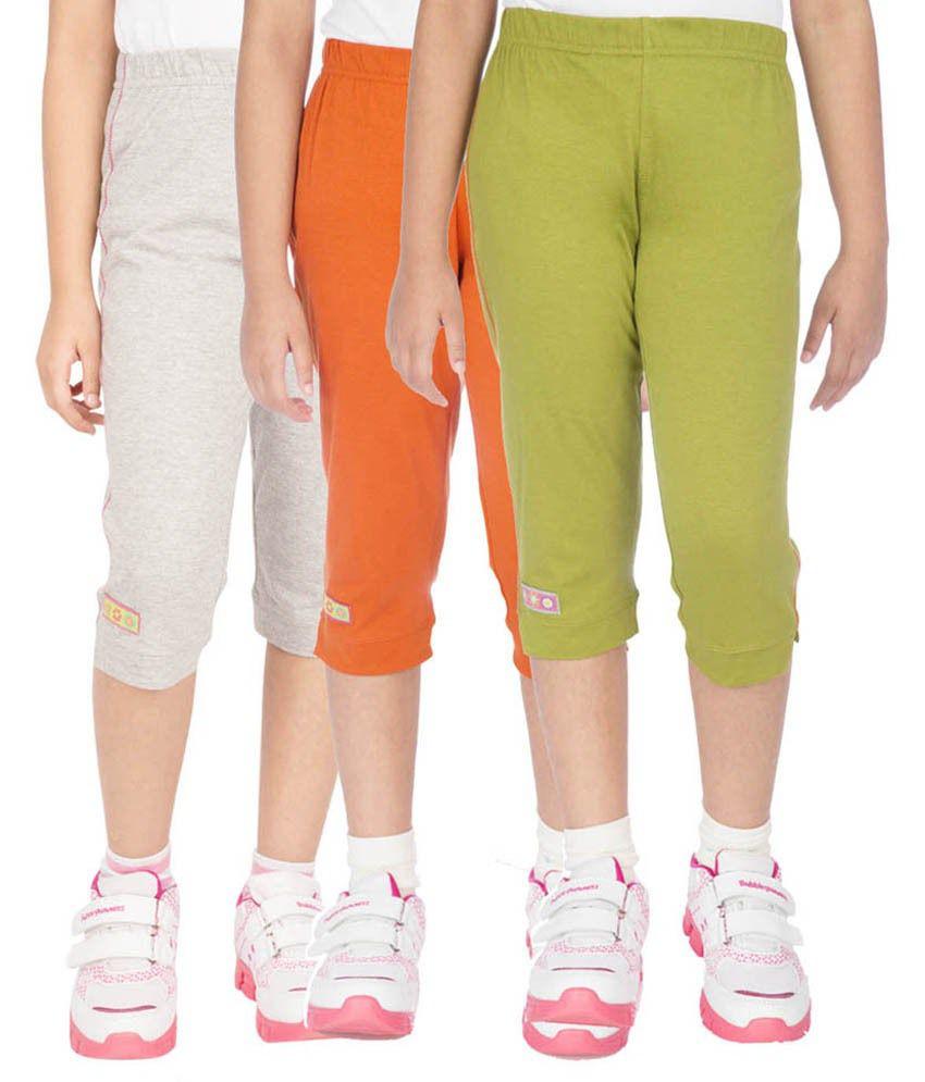 Ocean Race Multicolour Capri For Girls Pack Of 3