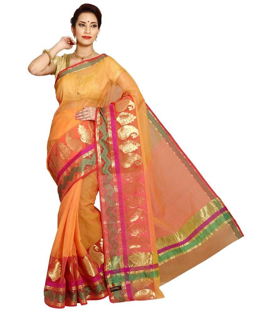 Pavecha's Orange and Beige Cotton Silk Saree