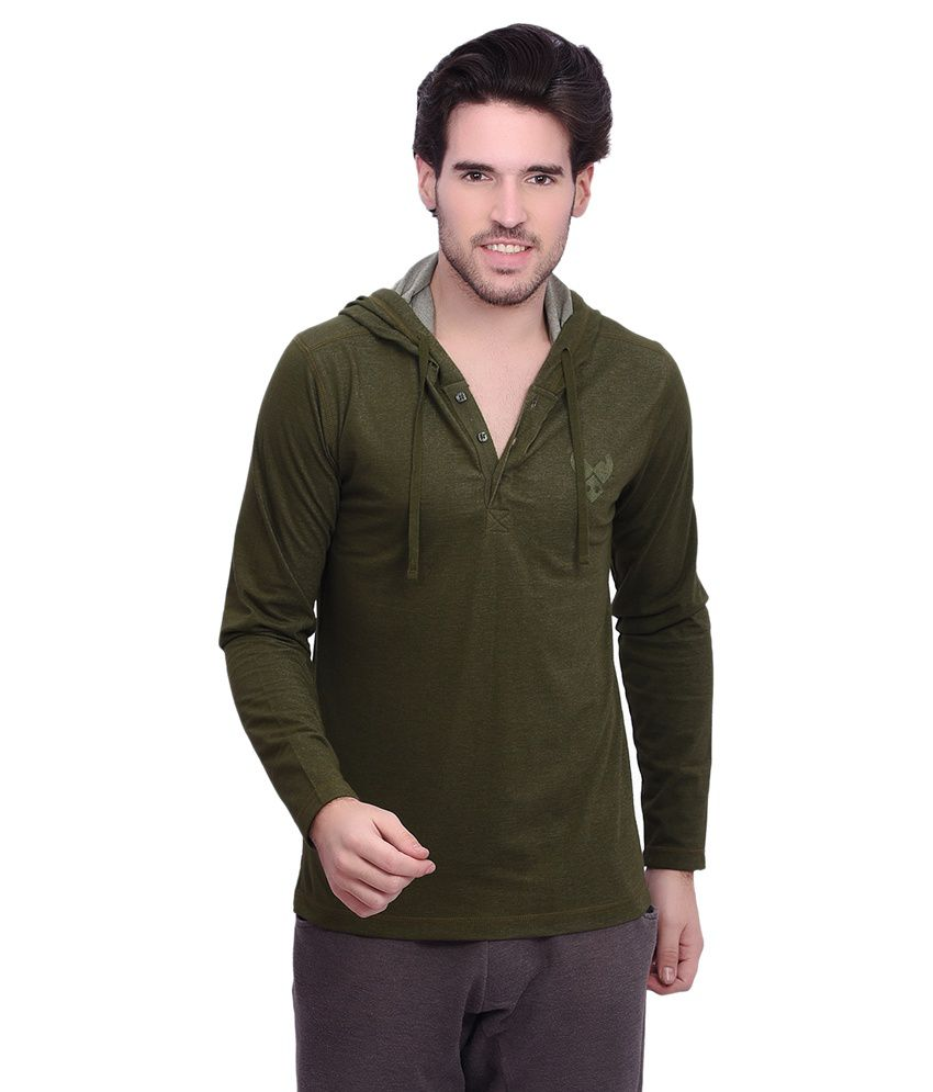 Punctuate Green Cotton Blend Full Sleeves Hooded T-shirt