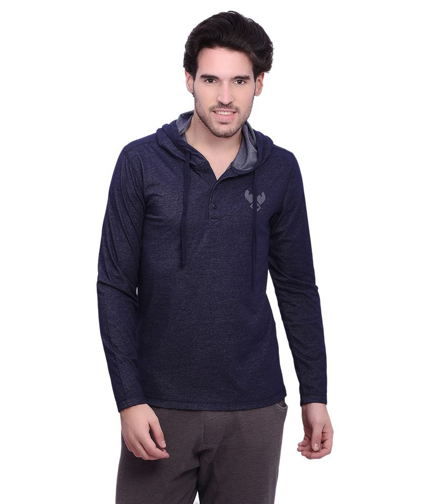 Punctuate Navy Cotton Blend Full Sleeves Hooded T-shirt