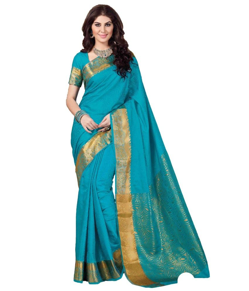 Sudarshan Silks Green and Blue Raw Silk Saree