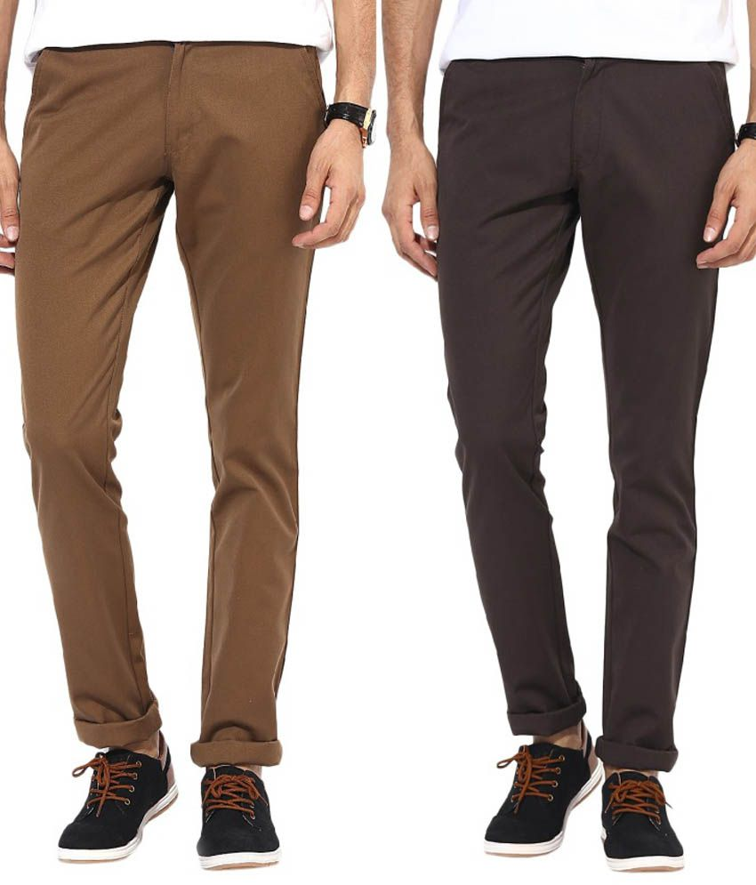 Bukkl Combo Of Coffee And Dark Brown Slim Fit Casual Chinos
