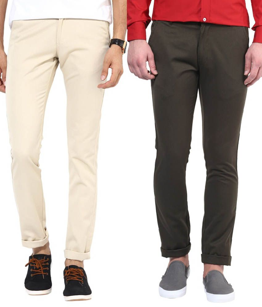 Bukkl Combo Of Cream And Olive Slim Fit Casual Chinos